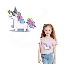 Wholesale Girls Patching Dress - 2018 New Cute unicorn iron on patches 21*18cm Diy girls T-shirt Dresses Sweater thermal transfer Patch for clothing