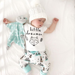 Wholesale Neck Fox - 2018 Summer Newborn Baby Kids Clothing Lovely Kids Little Dreamer Letter Fox T-shirt Tops+Pants Outfits Clothes Baby Clothing Set