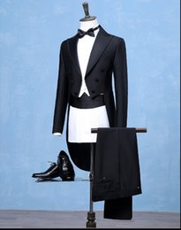 Wholesale marriage suits - Men Plus size black Tuxedo long slim jacket Magic garbage royal marriage male singer performance laciness tuxedo formal dress