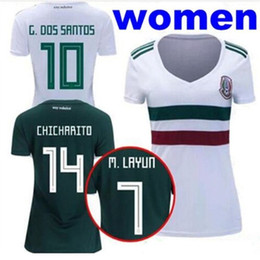 85d0f00ea05 2018 World Cup Woman Mexico soccer Jersey home away white 8 H.LOZANO 10 G.DOSSANTOS  14 CHICHARITO girl Slim Short sleeved football shirt