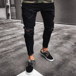 46432c2a0eea Discount evisu - Mens Cool Designer Brand Black Jeans Skinny Ripped  Destroyed Stretch Slim Fit Hop