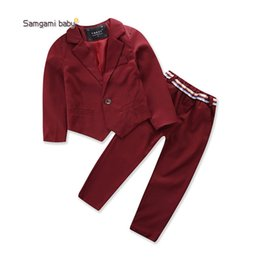 Wholesale Boy Set Fake - Autumn Children Boys Fake 2 pcs Dotted Long Sleeve Shirt+ Pants Sets With Bowtie Gentleman Boy Fashion Cotton Suit Outfits Red Navy A8749