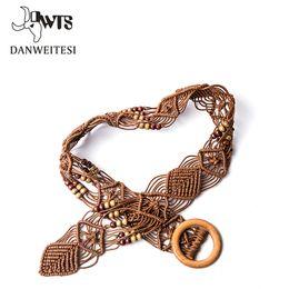Wholesale Hand Woven Belts - [DWTS] Designer belts woman high quality mens belts girls Braided Belt women Candy Skinny cinturones mujer Hand woven rope belt