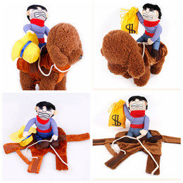 2019 borsa di cowboy Creativo Pet Halloween Costume Cosplay Cowboy Rider borsa borsa Pet Dog Cat vestiti stile cavaliere divertente pet party apparel 4 taglia AAA1101 borsa di cowboy economici