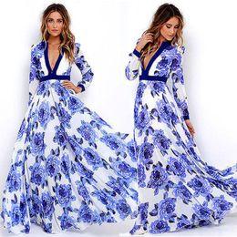 2c2eb3ef23fa New 2017 Women Summer Floral Printed Maxi Dress Vintage Long Sleeve V neck  Pleated Long Dress Beach Party Vestidos Sundress
