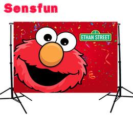 2019 фоны Vinyl Red Elmo Backdrops Первый день рождения Party Custom Photo Studio Фон Улица Сезам Улица 7x5ft дешево фоны