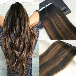 Wholesale Hair Extensions Glue Tape - Human Hair Tape in Extensions Ombre Glue in Remy Hair Extensions Balayage Hair Color #1B Dark Roots Fading to #4 Chocolates Brown 40pcs 100g
