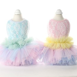 Wholesale Floral Dress Material - Fairy Lace Bubble Dress Multiple Color Overlay Lollipop Princess Style Cotton Material Spring And Summer New Lovely Dog Clothes