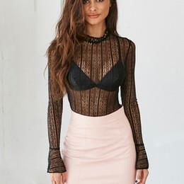 3f7bd0264fc Sexy Lace Black Blouse Mujeres 2018 Transparent Long Sleeves Black Red  Camisa blusa Elegant Lace Blusas Tops elegante blusa de encaje negro oferta