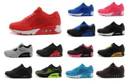 Wholesale cheap women size 11 shoes - 2018 New Air Cushion 90 KPU Men Women Sport shoes High Quality classical Sneakers Cheap 11 colors Sports running Shoes Size 36-46
