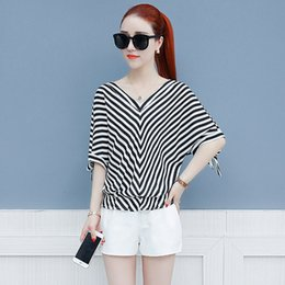 b779bb2b51263 Discount striped bow blouse - Women Spring Summer Style Chiffon Blouses  Shirts Lady Casual V-