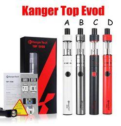 Wholesale Original Kanger Evod Starter Kit - 100% Original Kanger Topevod Starter Kit with 1.7ml Kangertech Top Evod Top filling Atomizer 650mah Evod Battery VOCC Coil subvod Vape pen