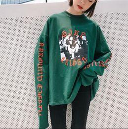 Wholesale Korean Collar Shirt Women - Harajuku bf long section round neck collar super long sleeve T shirt female loose Korean version