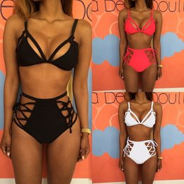 Wholesale women silk bra sets - Women Bikini Set Padded Bra High Waist Push Up Swimwear Beach Swimsuit Beachwear
