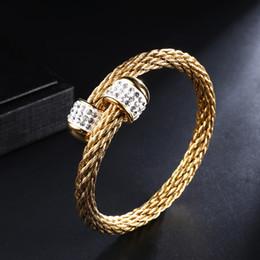 DZ Bracelets Tressé Fil Bracelet Zircon En Acier Inoxydable Or Couleur Câble Manchette Réglable Bracelets pour Femmes Bijoux Cadeau ? partir de fabricateur