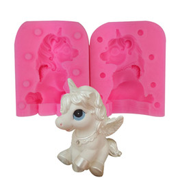 silicone animal cake mould Coupons - 3D Unicorn Silicone Mould Bao Li Candle Manual DIY Handmade Soap Lollipop Baking Cake Chocolates Animal Mold Kitchen Tools 18tq bb