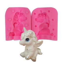 velas animais Desconto 3d unicórnio molde de silicone bao li vela manual diy artesanal de sabão pirulito bolo de cozimento chocolates molde animal cozinha ferramentas 18tq bb