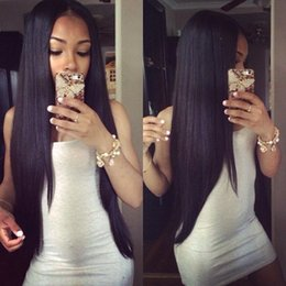 Wholesale vietnamese girl - Fast Shipping 100% Human Hair Lace Front Wig Black Girl Straight Natural Black Color Swiss Lace Wig can Bleached Knots