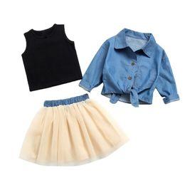 Длинная черная джинсовая куртка онлайн-3PCS Baby Girl Denim Dress Set Long Sleeve Denim Jacket + Black Vest + Mesh Skirt Fashion Girl Clothes Set