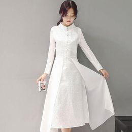 Wholesale Traditional Chinese Silk Dresses - 2018 new women retro chinese traditional dress silk cotton cheongsam female lady broadcloth wedding casual design qipao AH146