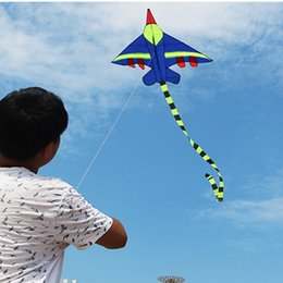 Wholesale Blue Tail Fly - Novelty Kids Flying Kite Long Tail Airplane Kites Outdoor Sports Gift Toys Kite Easy To Fly for Children No Thread