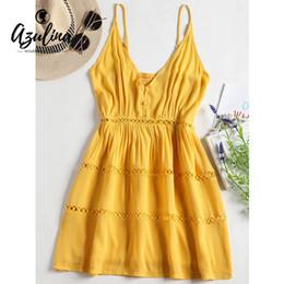 d35554f4641c 20187 AZULINA Hollow Out Spaghetti Strap A Line Dress Summer Women Dress  New Beach Sweet Sleeveless Girls Dresses Vestidos Mujer 2018