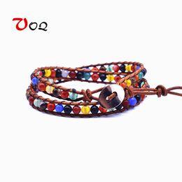 Кружевной браслет онлайн-Vintage Handmade 2 laps Leather Wrap Bracelet Multi Color Beads Natural Stone Bracelets for Men Women Chakra Bracelet Jewelry