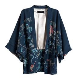 Mulheres Camisas Harajuku Outono Mulheres Kimono Phoenix Imprimir Manga Morcego Solto Cardigan de Lazer Blusa Streetwear Tops de Fornecedores de blusa de impressão de flores amarelas