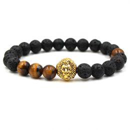 Wholesale Ancient Buddha - Sporting lion 8mm Black Lava Volcanic Stone Energy Yoga Bracelet Ancient Gold Owl Buddha Head bracelets for women AL-XD51