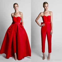 Wholesale Evening Short Skirts - Krikor Jabotian Red Jumpsuits Evening Dresses With Detachable Skirt Sweetheart Strapless Satin Guest Dress Prom Gowns