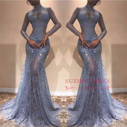 Wholesale Lace See Through Prom Dresses - Modern Illusion See Through Lace Evening Dresses 2018 Mermaid High Neck Sheer Long Sleeves Appliques Long Party Prom Gowns Pageant Vestidos