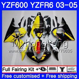 R6 giuntatura gialla online-Corpo per YAMAHA YZF600 YZF R6 03 04 05 YZFR6 03 Carrozzeria 228HM.16 YZF 600 R 6 YZF-600 YZF-R6 giallo nero stock 2003 2004 2005 Kit carene