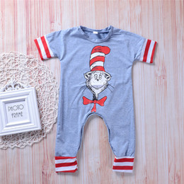 girl babies cute cats Promo Codes - Cute Newborn Baby Boys Girls Gray Jumpsuit Romper Cartoon Cat Red Striped Chrismas Onesies Baby Outfit Bodysuit Sunsuit Kid Clothing