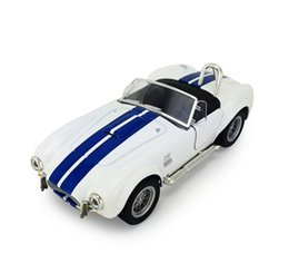 Wholesale Door Light Kits - Double Horses 1:32 ford Shelby cobra 427 classic sports car car light back to open the door of alloy car model kit children toy