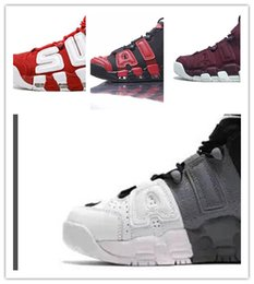 Wholesale wine air - SUP Airs Basketball Shoes More Uptempo WHITE WINE BLACK red Chrome GRAY ,with box