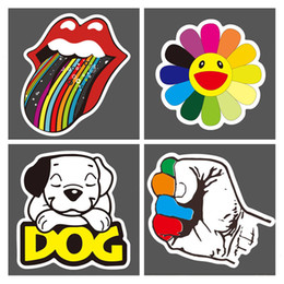 Wholesale vintage decals - Super Cool 100 Stickers Skateboard Snowboard Vintage Vinyl Sticker Graffiti Laptop Luggage Car Bike Bicycle Wall Decals Mix Lot Fashion Cool