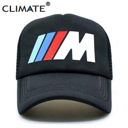 Wholesale m3 caps - CLIMATE Men New Mesh Trucker Caps M3 M5 Car Fans Cool Summer Adult Logo Cool Black Baseball Mesh Net Trucker Caps Hat for Men