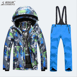 Wholesale Men Snowboard Set - Wholesale- High Experience Men Ski Jacket Pant Snowboard Suit Waterproof Windproof Outdoor Sport Wear Skiing Snowboard Suit Thermal Set New
