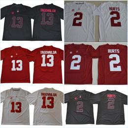 números de los jerseys del balompié Rebajas Alabama Carmesí # 13 Tua Tagovailoa # 2 Jalen Hurts rojo blanco negro número de nombre cosido College Football Jerseys puede mezclar orden envío gratis