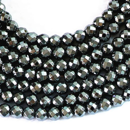 Wholesale 4mm Metal Beads - DIY semi-finished products Hot sale black magnetic hematite stone 4mm 6mm 8mm 10mm 12mm round faceted loose beads loose beads diy jewelry
