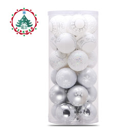 Wholesale Plastic Christmas Hanging Ornament - inhoo 24pcs Christmas Tree Hanging Balls 6 8cm Silvery White Snowflake Color Drawing Decor Ball Xmas Home Party Wedding Ornament
