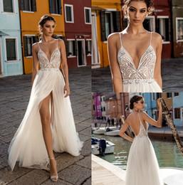 Gali Karten Brautkleider Spaghetti Lace Split Front Brautkleider bodenlangen abiti da sposa Backless Wedding Dress von Fabrikanten