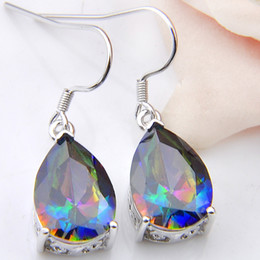 mystic topaz dangle earrings Coupons - Luckyshine Wholesale 3 Pairs   Lot Classic Fire Rainbow Water Drop Mystic Topaz Gemstone 925 Sterling Silver USA Drop Wedding Earrings