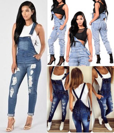 3 Style S-3XL Womens Ladies Celeb Denim Jeans Longitud total Pinafore Overall Jumpsuit Rompers Dungaree Ripped Pants desde fabricantes