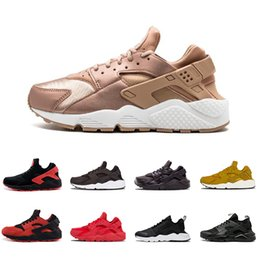 Wholesale roses lighted - 2018 Rose gold Air Huarache 1.0 IV Classical Triple White Black Huarache Shoes Men And Womens Huaraches sports Sneakers Running Shoes 36-45