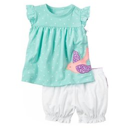 Wholesale Chocolate Birds - Fashion Baby Girls Clothes Suit Bird Cute Newborn Clothing Sets Toddler T-Shirt Hot Shorts Summer Outfit 6 9 12 18 24 Month Tops Sport Suit