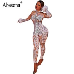 3825be41393 Abasona Vintage Printed Jumpsuits Women Long Sleeve Skinny Overalls Sexy  Party Club Bodycon Bodysuits Rompers Womens Jumpsuit