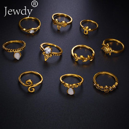 Wholesale Elephant Ring Gold White - whole sale10pcs Set Gold Color Flower Midi Ring Sets for Women Silver Color Boho Beach Vintage Turkish Punk Elephant Knuckle Ring 2018 new