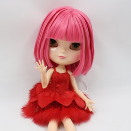 2019 небольшой встряхнуть Бесплатная доставка Nude ICY Doll BL2476 короткие розовые волосы azone тела небольшой грудной шейкой головы 1/6 игрушка подарок скидка небольшой встряхнуть