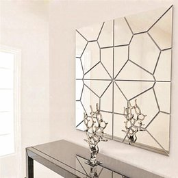 Wholesale Mirror Sticker Roll - 7Pcs 18*18cm Moire Pattern Quare Mirror Tile Wall Stickers 3D Decal Mosaic Home Decoration DIY For Living Room Porch